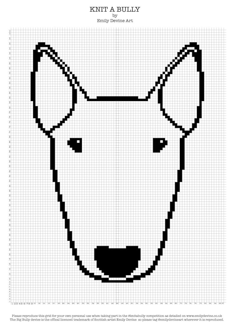 Knitabully Bull Terrier Grid Pattern for knitting mosaic image 0