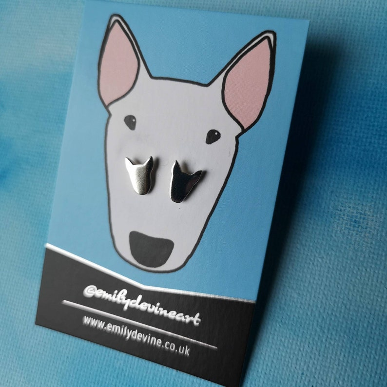 Solid silver bull terrier stud earrings image 0