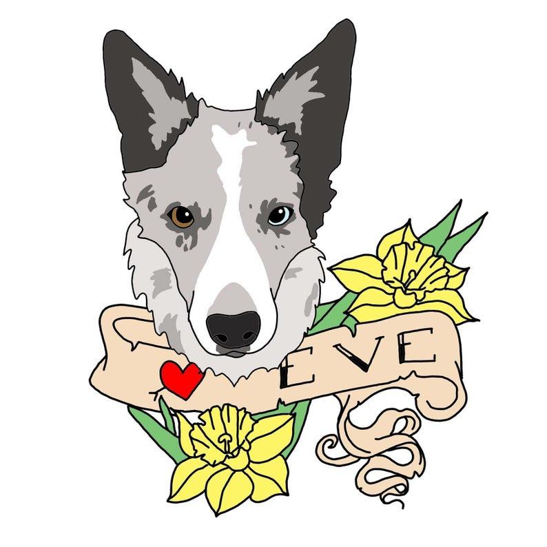 Tattoo Style Digital Custom Pet Portrait image 0