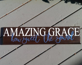 Amazing Grace Wood Sign/ Christian Wall Decor/  Christian Sign