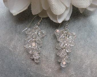 Clear Crystal Cluster Earrings w/ Sterling Silver Ear Wires