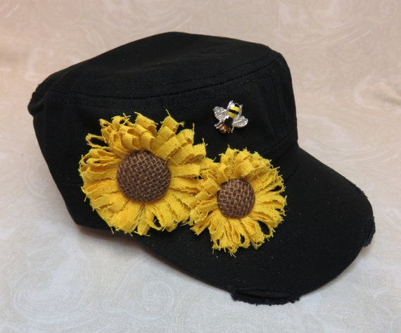 Black Cadet Cap Hat with Sunflowers and Bumblebee Button  30ba216206f