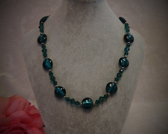 Czech Glass and Swarovski Crystal Beaded Necklace - Emerald Green