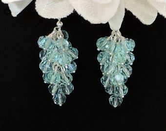 Blue Topaz Crystal Cluster Earrings in Sterling Silver