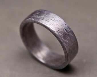 Silver Bentwood Ring, Organic Ring, Mens wooden Wedding Band, Tribal Jewelry.