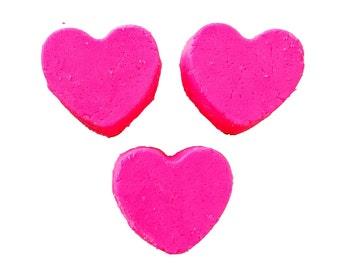 Heart foaming bath melts, custom color and scents