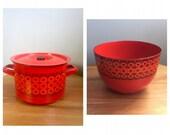 Red Enamelware Large Bowl Casserole MCM Finel Made in Finland Mid Century Modern Scandinavian Kitchen Kaj Frank Kehrä
