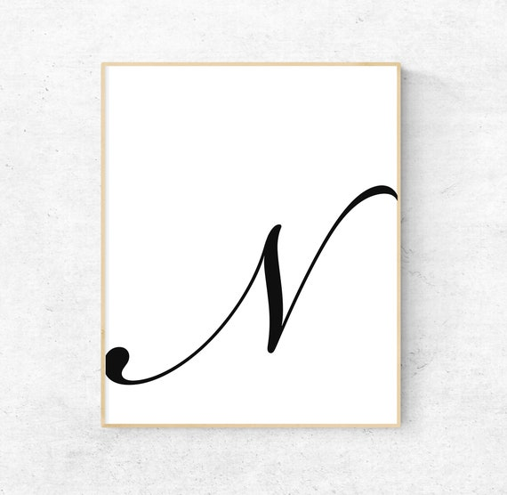 photo relating to Printable Letter N titled Printable Letter N Letter Artwork Print N First Electronic Wall Poster  Monogram Nursery Wall Artwork Letter N Print N Typography Decor