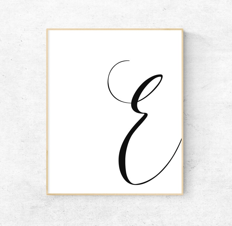 image regarding Letter E Printable named Printable Letter E Letter Artwork Print E 1st Electronic Wall Poster  Monogram Nursery Wall Artwork Letter E Print E Typography Decor