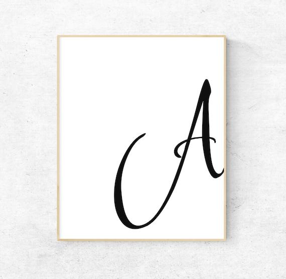 Letter Art Print.Printable Letter A Letter Art Print Initial Digital Wall Poster Monogram Nursery Wall Art Letter A Print Modern Typography Decor