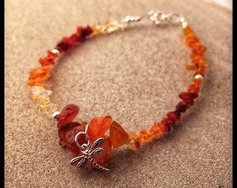 Fire Opal nuggets and 925 sterling silver bracelet