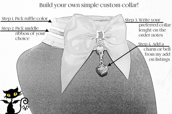 UPDATED! Build your own tug proof custom kittenplay petplay collar with two color satin read description for details