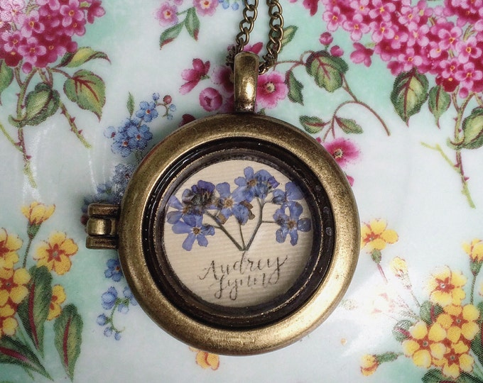 Hand-letterd Pressed Forget-Me-Not Locket