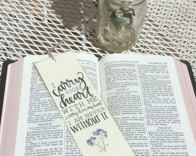 Generic Hand-lettered bookmark with pressed Forget-me-not (FREE shipping)