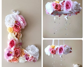 """SALE, Baby mobile and matching 15""""/38 cm flower letter with 10% discount, Floral mobile, Floral letter, Nursery decors, Nursery matching dec"""