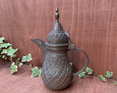 Hand crafted middle eastern persian brass and tin dallah (coffee pot), natural patina