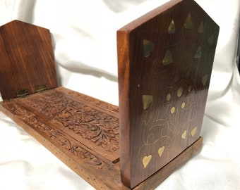 Vintage Book Sliding holder inlay carved wood bookends