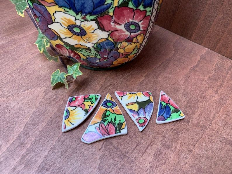 earrings Broken antique Royal Doulton bone china pieces for pendant necklace set of 4 smooth sanded edges