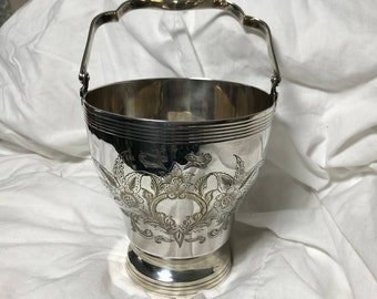 Vintage, Silver plate, engraved, ice bucket