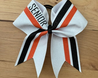 Price listed below is per bow price. Orange and Black glitter Cheer Bow custom made for your team White