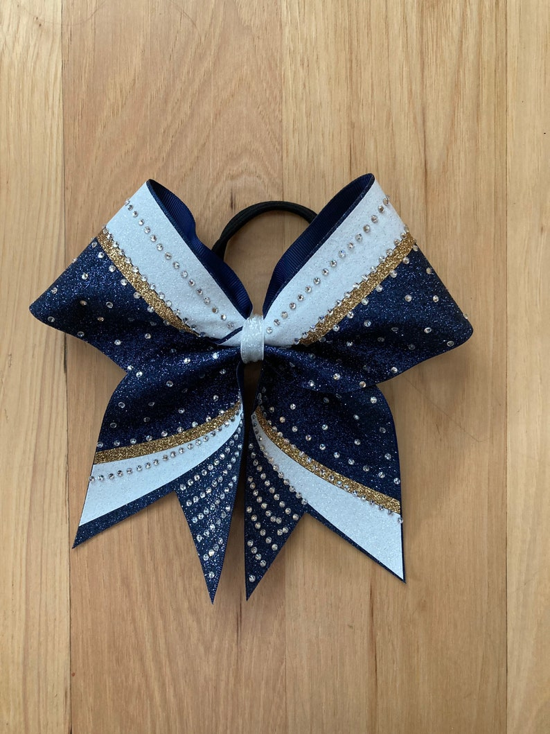 Price listed is per individual bow Competition rhinestone bow Gorgeous competition glitter cheer bow with rhinestones made in your colors