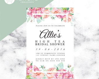 Floral Bridal Shower Invitation // 120 x 180mm // Change to any Occasion
