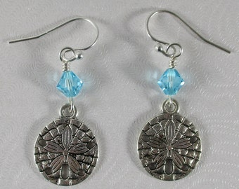 sand dollar earrings, beach lovers gift, ocean beach earrings, nautical earrings, beach jewelry, summer earrings,  sanddollar earrings