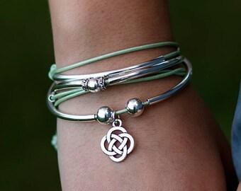 b2d23fb90 celtic knot leather cord triple wrap bracelet Irish bracelet Irish jewelry  celtic knot bracelet celtic jewelry womens leather bracelet