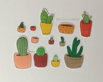 Cacti Themed Stickers - Handmade