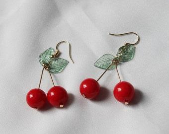 Cherry Earrings : Gold Cherry Earrings, Berries Earrings, Dangle Earrings