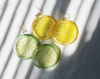 HandMade Lemon & Lime 3D Earrings: Fruit Lover Gift, Fruit Earrings, Cute Earrings