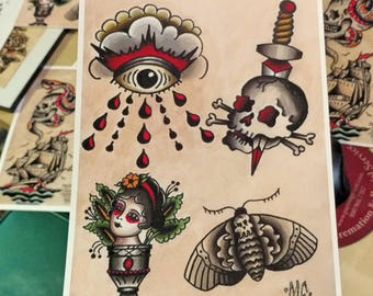 Cyclops Skull Tattoo Flash Page Prints American Traditional Etsy