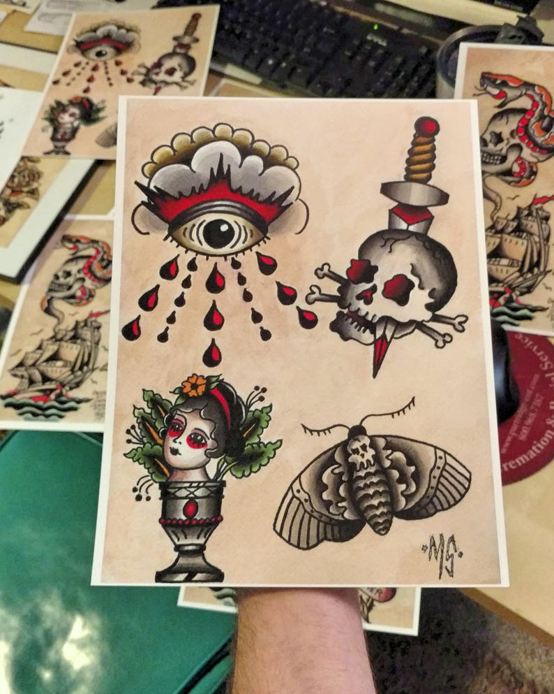 Original American Traditional Tattoo Flash Print Skull Moth Etsy