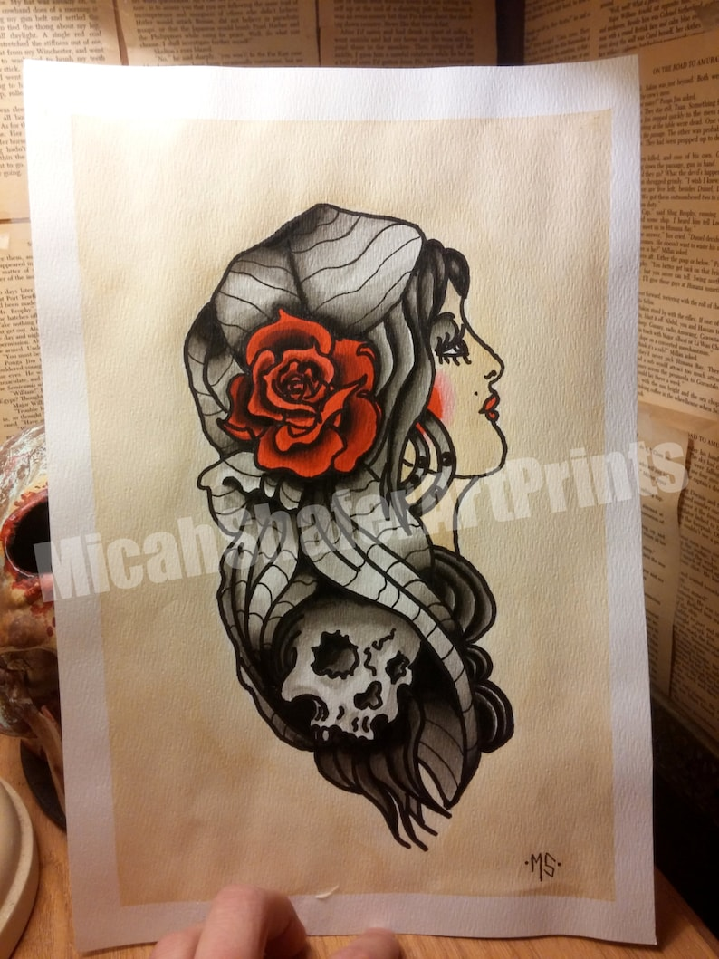 Gypsy Traditional Tattoo Classic Flash Page American Etsy
