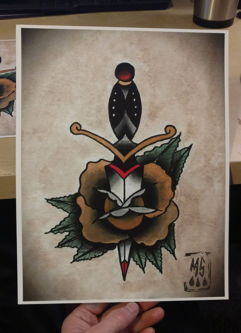 Rose And Dagger American Traditional Classic Tattoo Flash Page Etsy