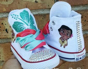 buy popular 3e0ed 407f1 Custom Moana Bling Shoes - Birthday Outfit - Custom Shoes - Baby Moana  Inspired - Moana Birthday Outfit