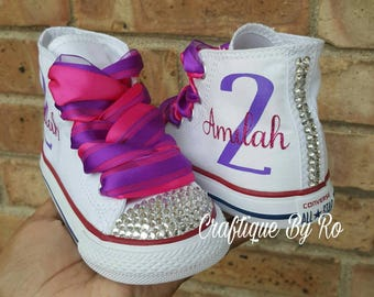 ef8446ce48b5 Doc Birthday Bling Shoes - Pink and Purple Birthday Outfit - Custom Shoes - Doc  Mcstuffins Birthday Outfit - Doc McStuffins Inspired