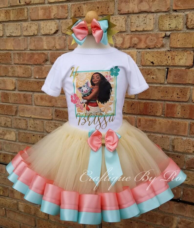 3d7ba9cd5 Hawaiian Tutu Set Moana Costume Birthday Outfit | Etsy