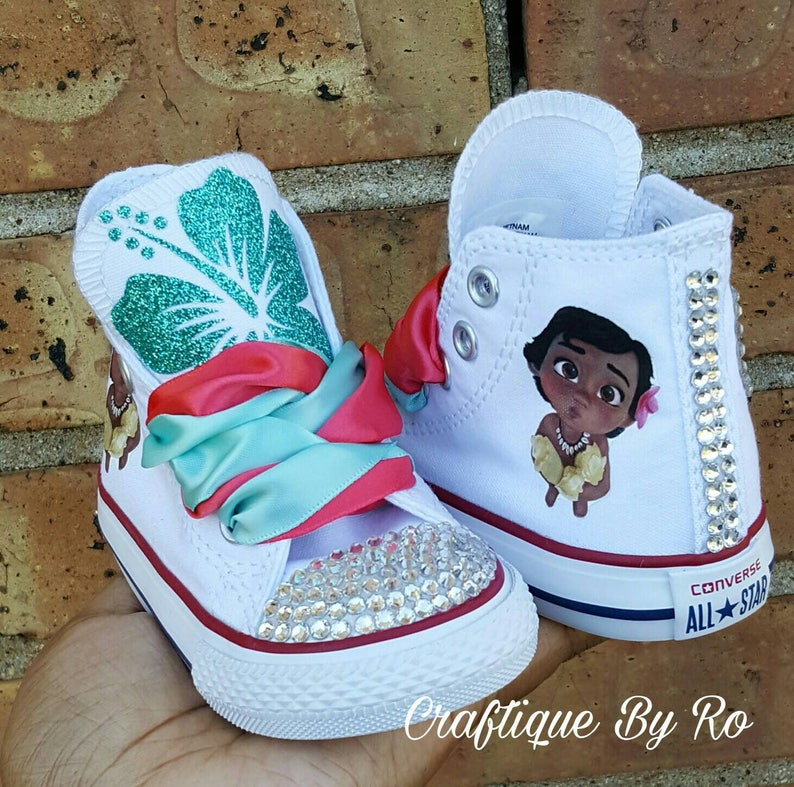e7519ae0dd6d Custom Moana Bling Shoes Birthday Outfit Custom Shoes