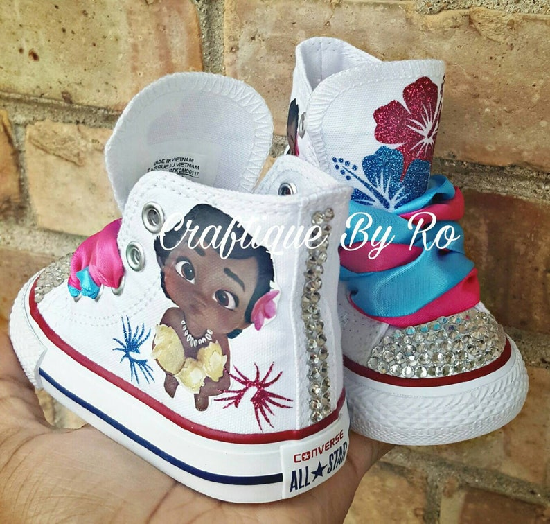 e847e75bcd74 Moana Bling Shoes Birthday Outfit Custom Shoes Baby