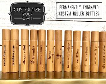 Roller Bottles Essential Oil Labels Engraved Roller Bottle  Essential Oil Gift Set 10 ml Glass Roller Bottle Personalized