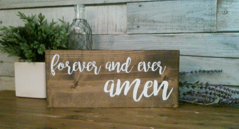Forever And Ever Amen Wood Sign 13 x 6 Wall Decor  Wedding  Marriage  Plaque  Wooden Decor