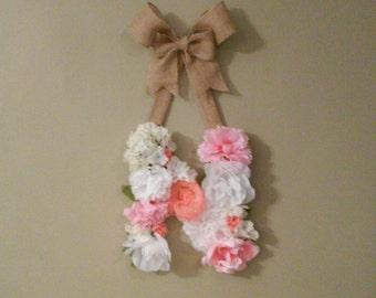 Custom Floral Letter Initial Burlap Hanging Wall Decor, Nursery Decor, Girl Baby Shower, Flower Monogram