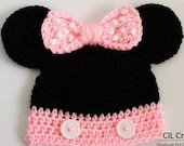 Mrs. Mouse Baby Girl Hat made to order in multiple sizes