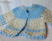 Baby Sweater Light Blue Antique White Classic Design