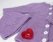 Lavender Colored Cardigan Sweater and Hat