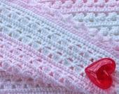 Pink & White Baby Blanket Handmade Crochet