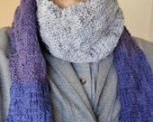 Knit Scarf Handmade Chevron pattern Wild Blueberry Colors