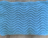 Soft Hand Knitted Baby Blanket in Baby Aqua Color