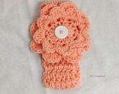 Girl's Peach Headband With Flower